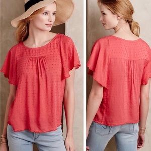 Anthropologie Maeve Flutter Sleeve Top Sz 10 ::K23